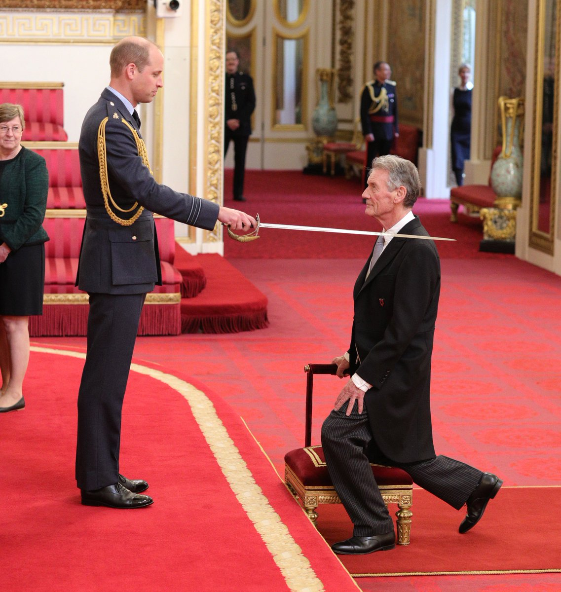 Today the Duke of Cambridge held an Investiture at #BuckinghamPalace.   Sir Michael Palin was awarded the Honour of Knighthood in recognition of his services travel, culture and geography, https://t.co/vEhl2pK8Pa