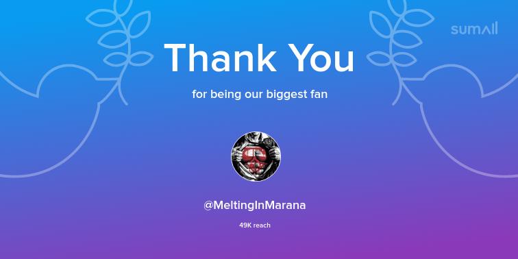 Our biggest fans this week: MeltingInMarana. Thank you! via https://sumall.com/thankyou?utm_source=twitter&utm_medium=publishing&utm_campaign=thank_you_tweet&utm_content=text_and_media&utm_term=218719b261af3568a1d7858d…