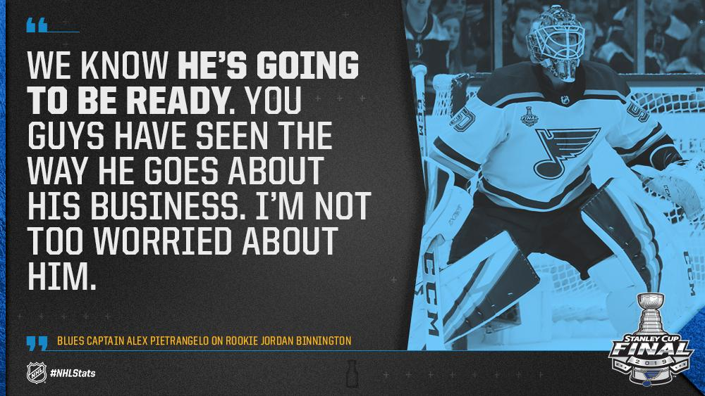 Nhl Public Relations On Twitter Blues Captain Alex Pietrangelo Has All The Faith In The World In Stlouisblues Rookie Goaltender Binnnasty Heading Into Tonight S Game7 Stanleycup Https T Co Focwycugau