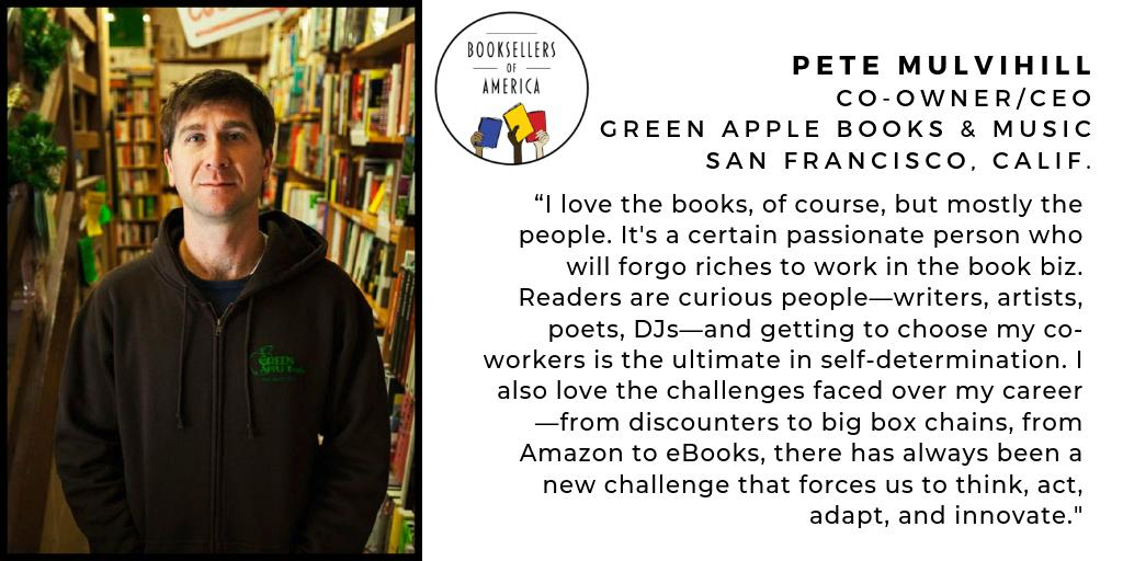 Booksellers of America is sharing the stories of the amazing independent booksellers across the nation. Be inspired by stories like Pete's, co-owner/CEO of @GreenAppleBooks in San Francisco.  Follow along on Facebook: http://facebook.com/BooksellersofAmerica/… And Instagram: http://instagram.com/BooksellersofAmerica…