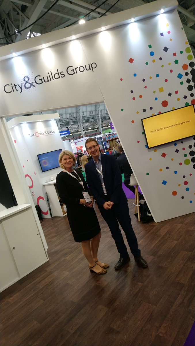 Enjoying the #FestivalofWork #CIPD @cityandguilds @ILM_UK @The_OxfordGroup @kineo with the fabulous Julie Rowlet @ILM_HE come and talk to us at the @CityGuildsGroup stand.