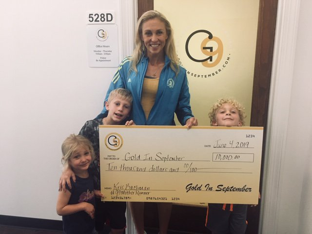 We are so thankful for the efforts of Kris Bachman, a G9motherrunner who raised $10,000 on behalf of Gold In September as she trained for the @bostonmarathon! Way to #growGOLD and raise funds for #childhoodcancer research! #thankyou #findacure<br>http://pic.twitter.com/Z6icuT41t9