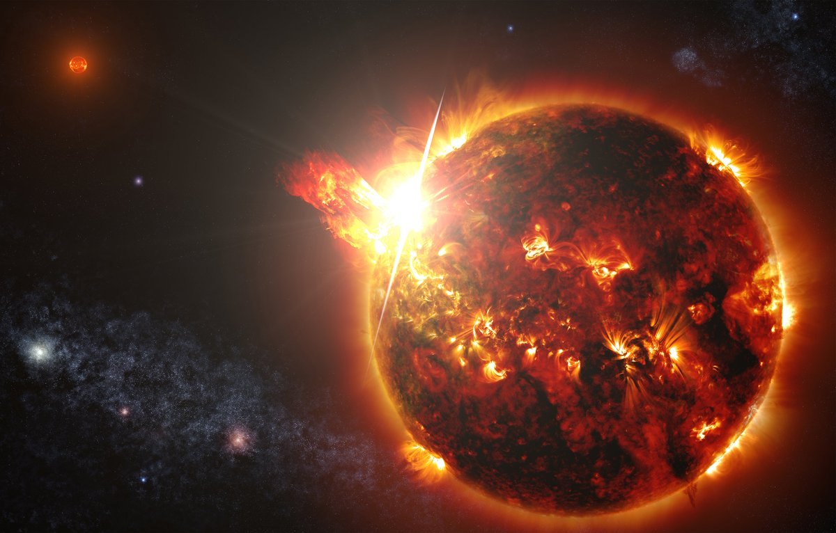 It's #SunDay! ☀️ We've witnessed explosions of material, called coronal mass ejections, from our Sun countless times — and @chandraxray recently made the first observation of one of these events on another star! ⭐️ https://go.nasa.gov/2KgGbUP