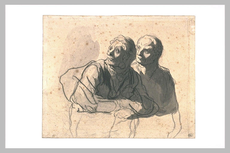 Two men looking at mid body to the left, Honore Daumier @artistdaumier #realism #honoredaumier <br>http://pic.twitter.com/HQPX8uR6MY