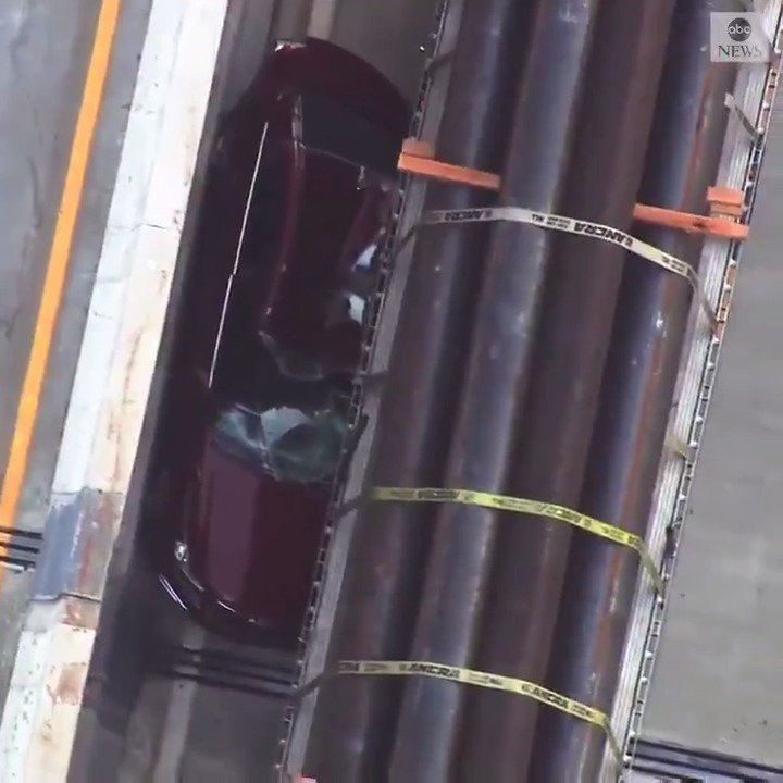 A terrifying crash blocked two lanes of traffic on the Liberty Bridge when a vehicle was pinned against the barrier by a tractor trailer whose driver was changing lanes and did not see his blind spot. The vehicle's driver was treated for minor injuries. https://abcn.ws/2RcoZAd