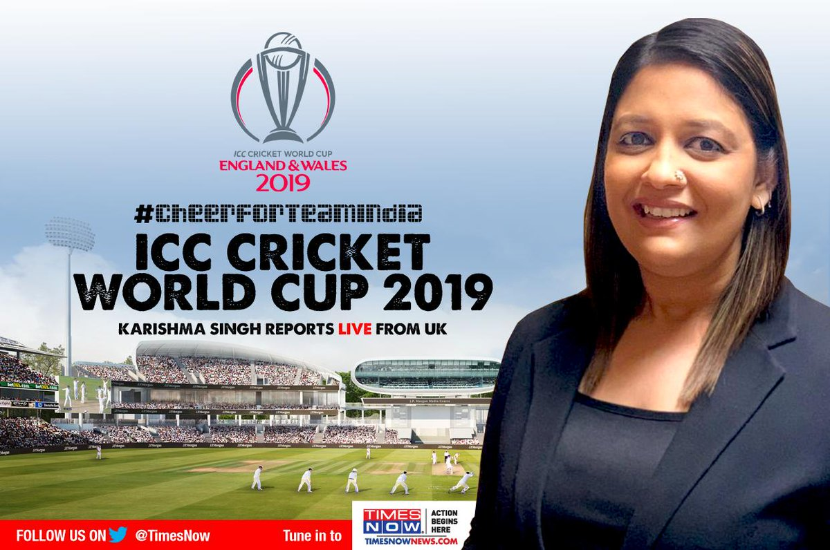 TIMES NOW's @karishmasingh22 will report #WorldCup2019 action LIVE from UK.Tune in to TIMES NOW and get all updates as India takes on New Zealand at Trent Bridge Cricket Ground, Nottingham, today. | #INDVsNZ #CheerForTeamIndia