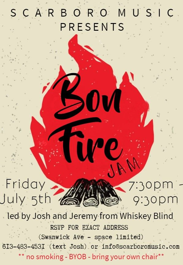 MARK YOUR CALENDAR - FRIDAY JULY 5th - 7:30PM BONFIRE JAM NIGHT! This is a RSVP event as space is limited! Address will be given to those that RSVP! Contact Josh at Scarboro Music - 416.699.8333 or info@scarboromusic #wearemusic #bonfire #toronto #the6ix #upperbeaches #jamnight<br>http://pic.twitter.com/Lu8A0j14zr