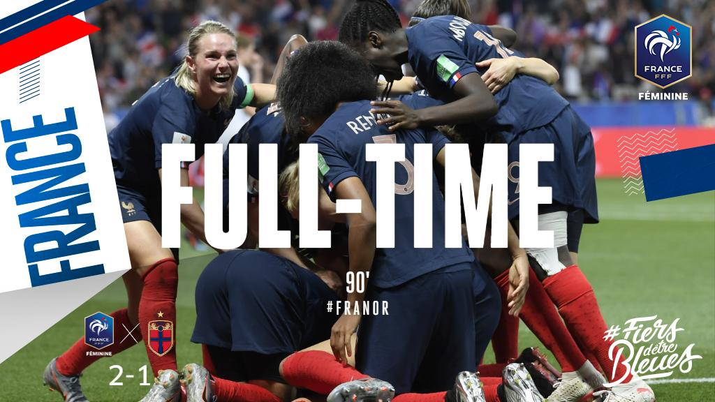 The final whistle goes: Les Bleues earn a hard-fought win in Nice!   #FiersdetreBleues #FIFAWWC #FRANOR <br>http://pic.twitter.com/vSmIQPqEhW