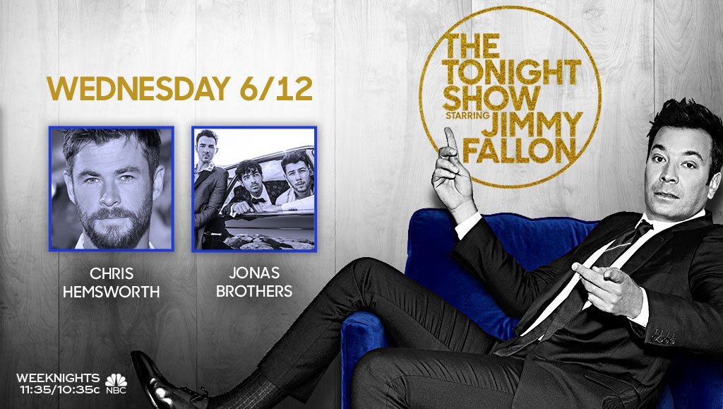 Tonight on the show: @chrishemsworth and talk + performance from @jonasbrothers! #FallonTonight