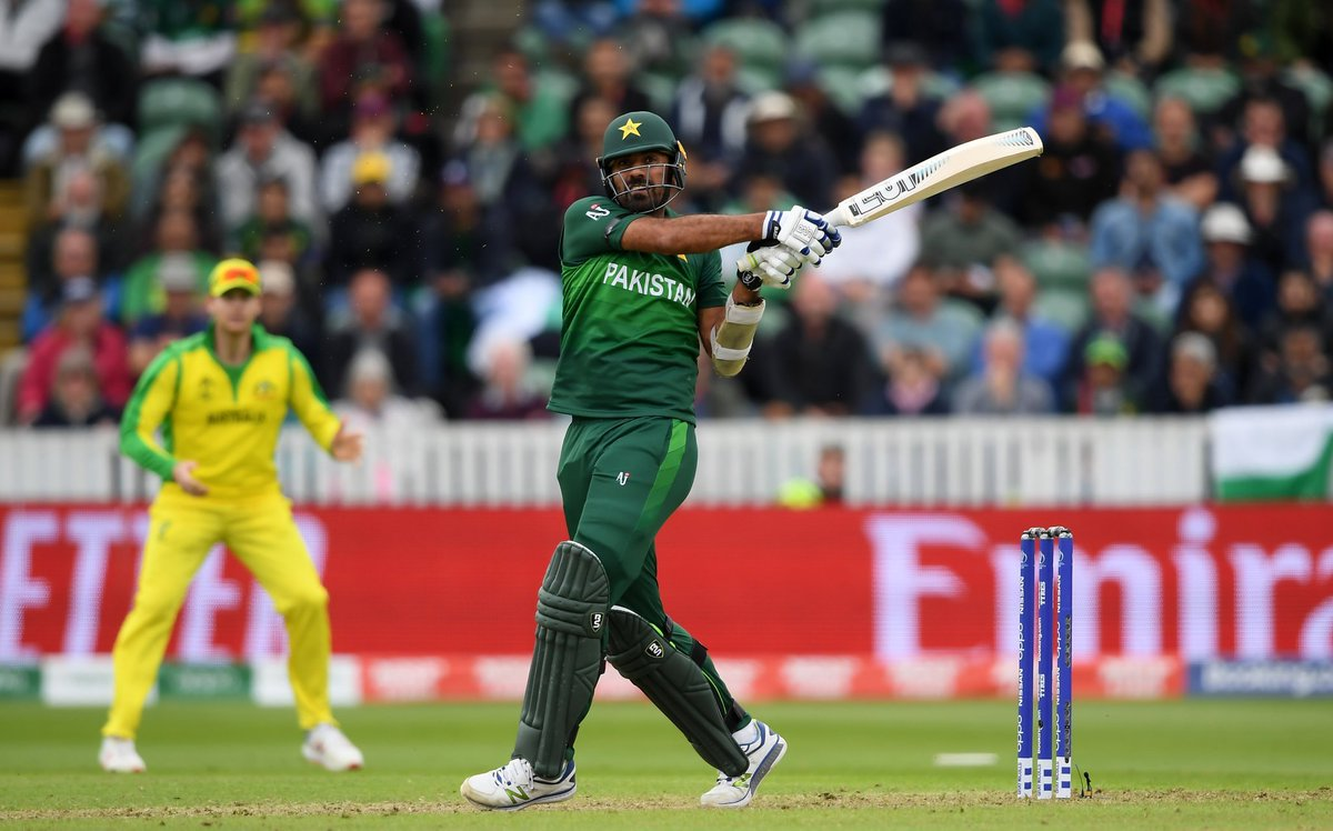 """Andy Zaltzman, TMS statistician:""""It is now three sixes for number eight Hassan Ali and three sixes for number nine Wahab Riaz. It is the first time six sixes have been hit by number eight and lower in a World Cup innings.""""Live: https://bbc.in/2Ibbe1Z#bbccricket #CWC19"""