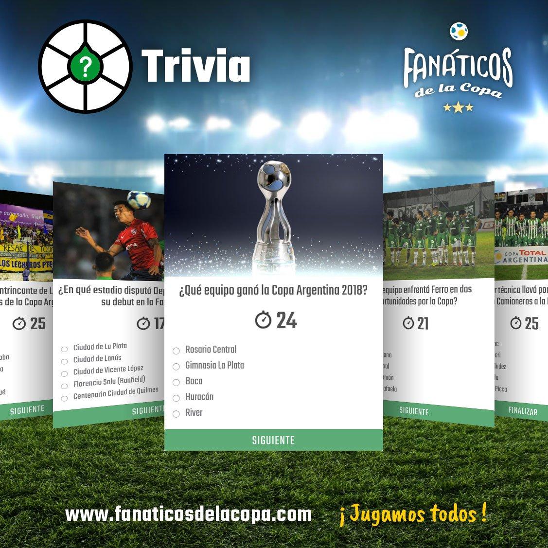 🤔⚽ Si creés que sabés de fútbol, la #Trivia de #FanáticosdelaCopa es tu lugar.  😎🏆 ¿Y si además de jugar, podés sumar puntos y canjear beneficios? ¡Mejor imposible! 🎉  💻 http://www.fanaticosdelacopa.com.  #JugamosTodos