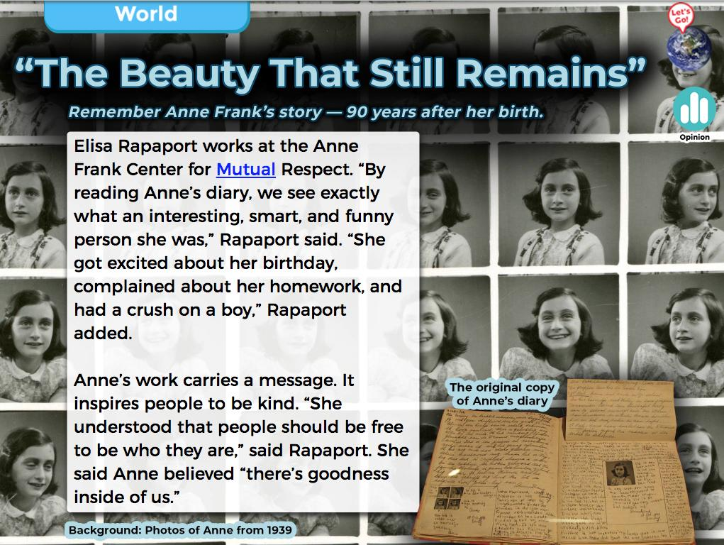 "Anne Frank would have been 90 years old today. In our top story, readers heard from Elisa Rapaport of the @AnneFrankCenter about why this brave young woman's story is as important as ever. ""She understood that people should be free to be who they are."" #AnneFrank90 <br>http://pic.twitter.com/TAXVsqXuA2"