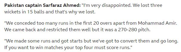 Here's what Pakistan captain Sarfaraz Ahmed made of it all. Live: https://bbc.in/2Ibbe1Z #bbccricket #CWC19
