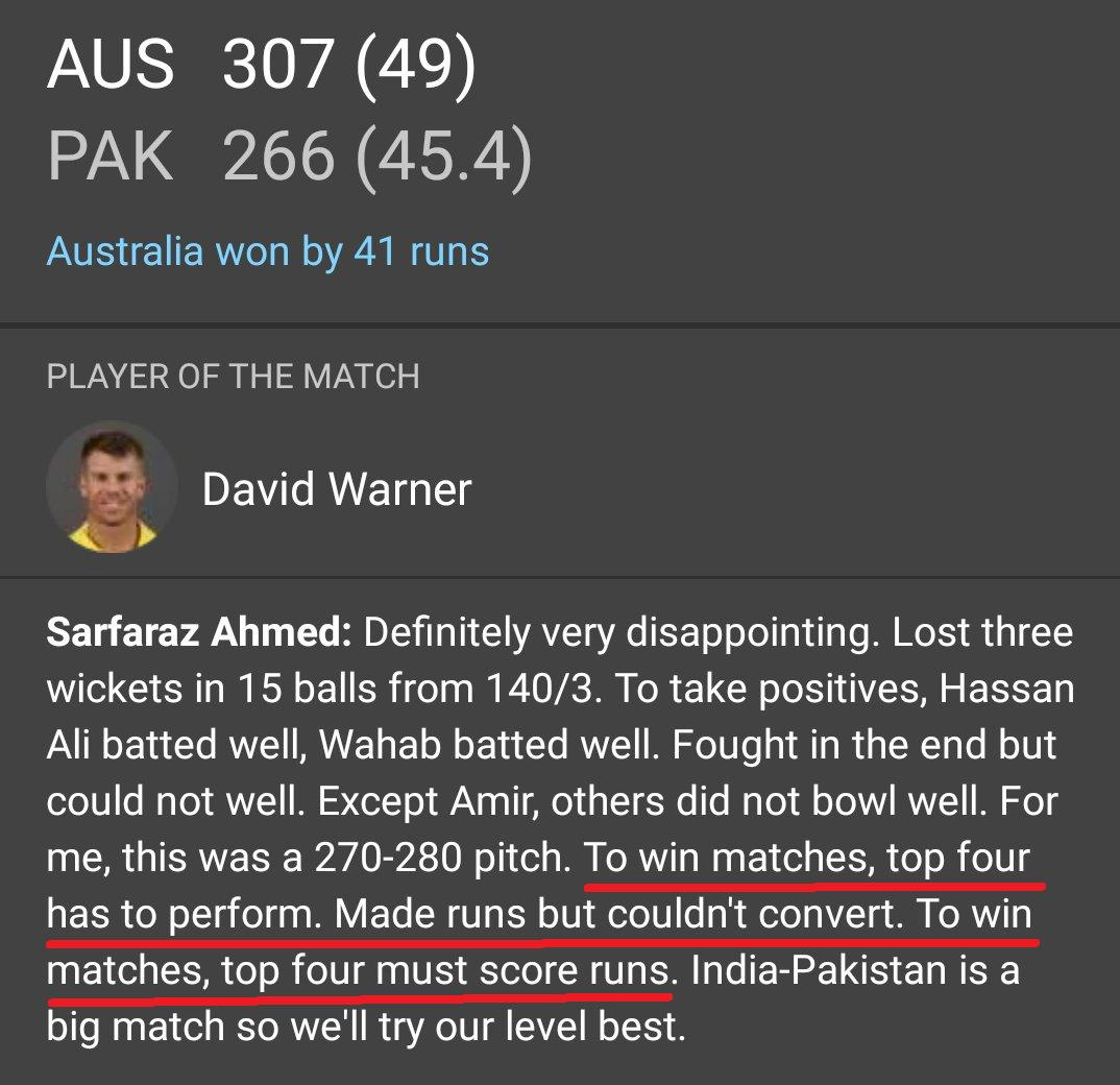 """To win matches top 4 has to perform""- Sarfaraz AhmedBlaming top 4 because he himself comes at no. 5 😂🤣😂#INDvPAK #PAKvAUS #AUSvPAK"