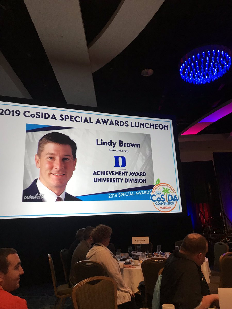 What a special day it was for @DukeATHLETICS very own, Lindy Brown. Congratulations on receiving the @CoSIDAnews Achievement Award!   We are very proud of you and this accomplishment.   #GoDuke