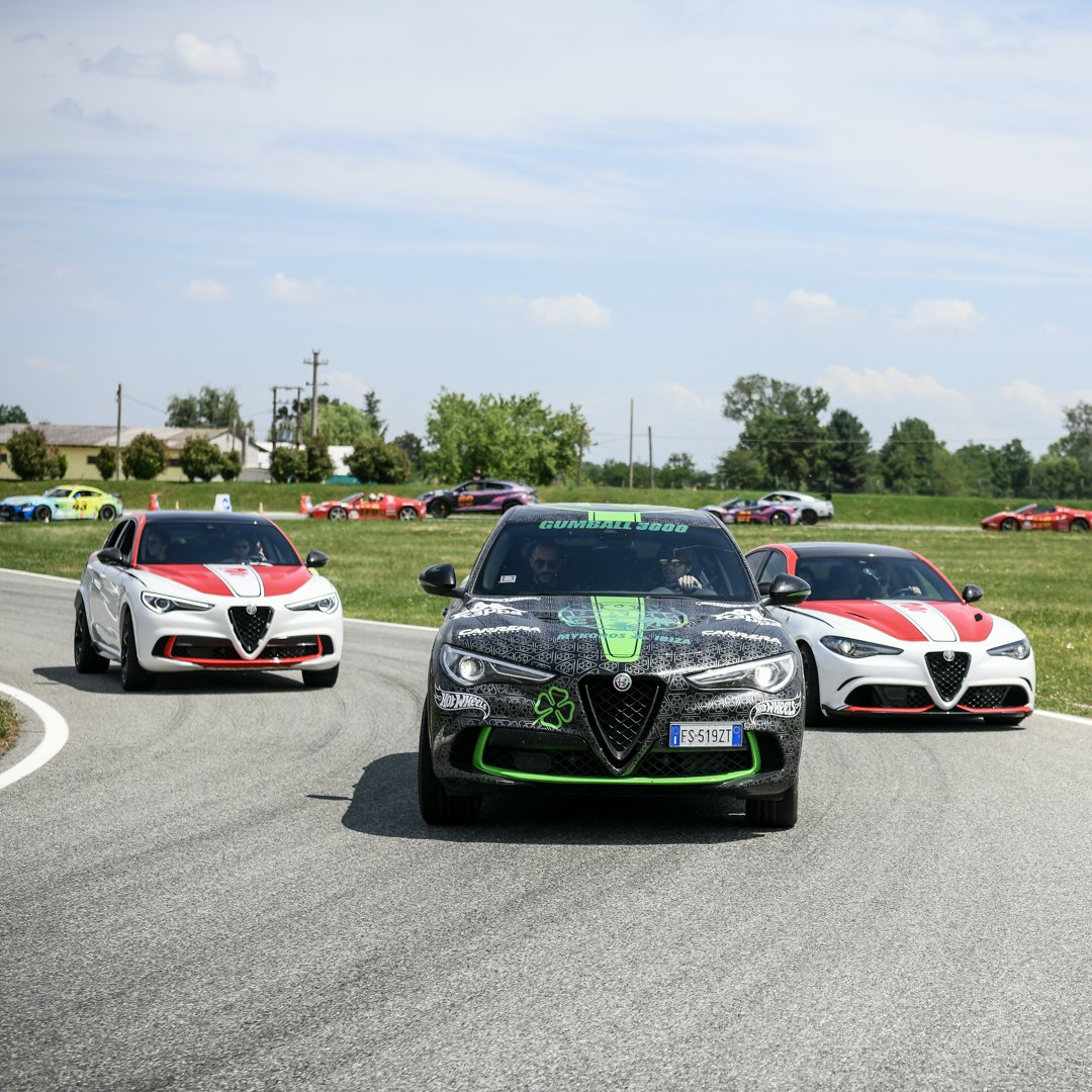 .@Gumball3000 paid a visit to Alfa Romeo's home, stopping at Balocco Proving Ground for a quick break. What a great day!