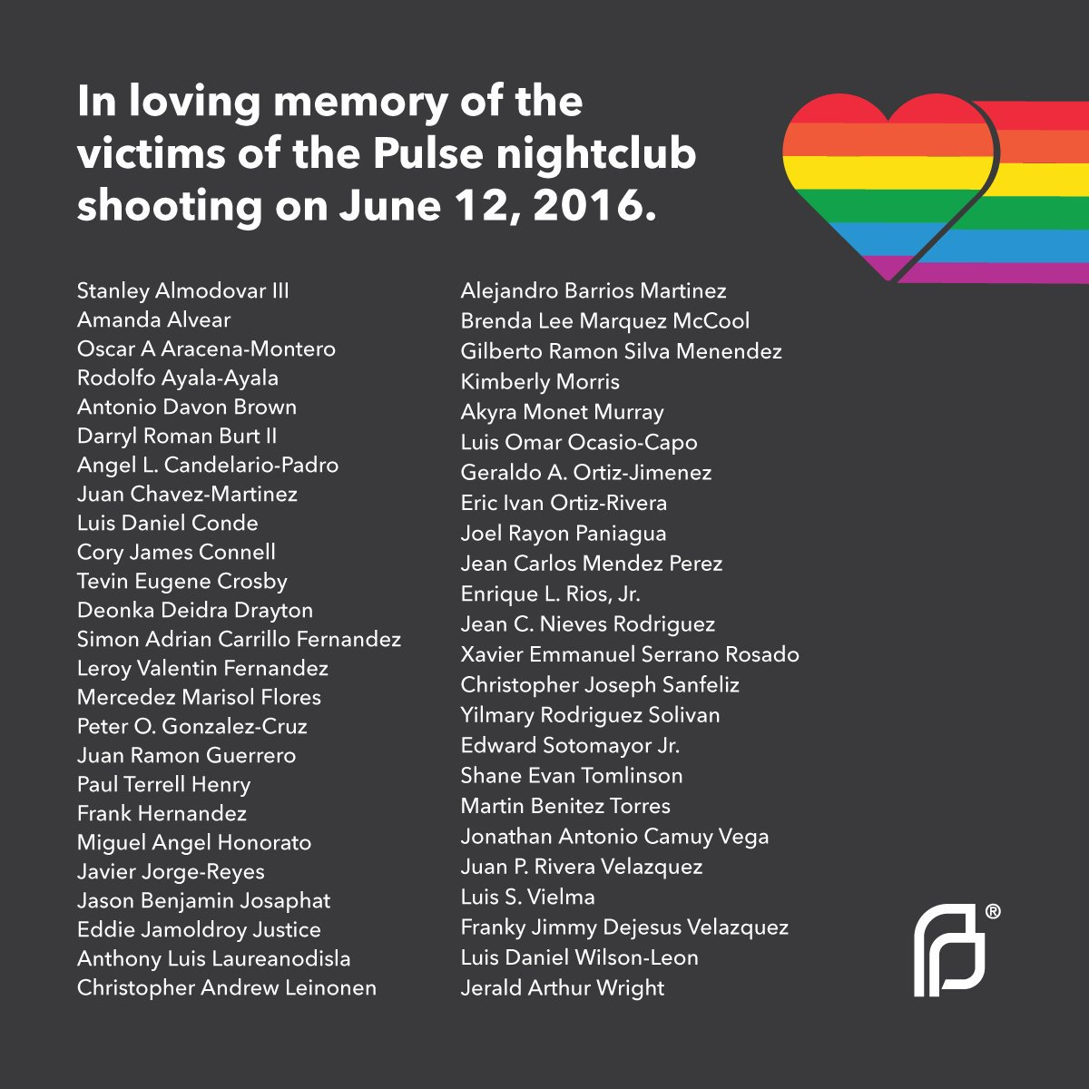 Today, we mourn and remember the victims of the #Pulse nightclub shooting. Their lives and the harrowing impact of this event on LGBTQ and Latinx communities in Florida will not be forgotten.
