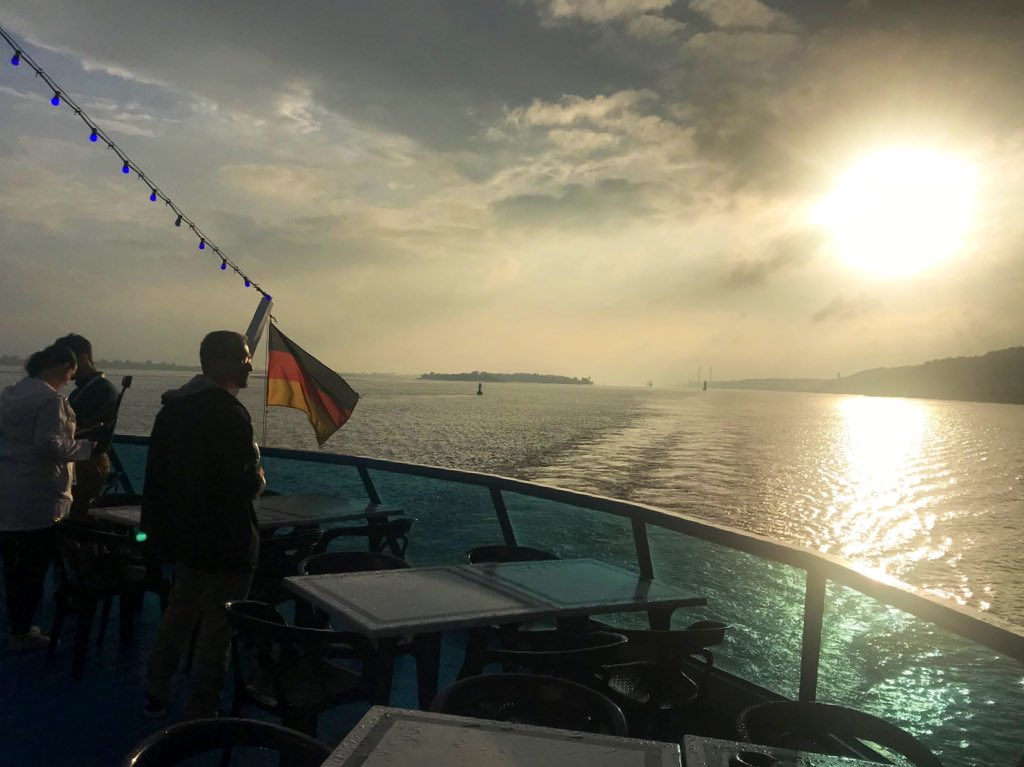 The #OpenRepo2019 reception is a boat trip on the Elbe. At what point does it become socially unacceptable to leave the conference crowd and start watching birds? It's an estuary 😱