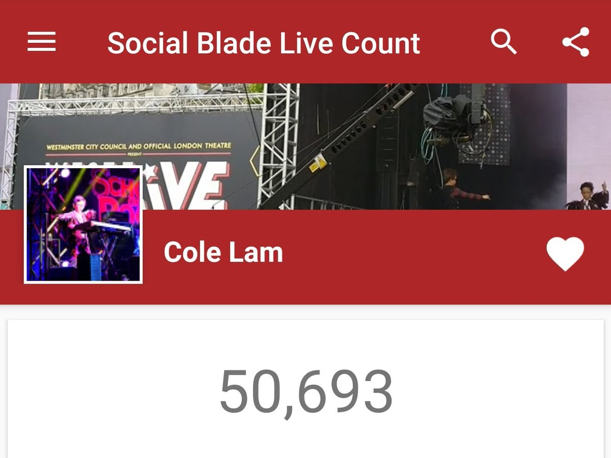 Woke up this morning to this. Started posting piano covers on @YouTube a year ago and growing slowly and steadily and then a few @QueenWillRock covers and boom! Several million views and 50K+ subs! Tracked using the amazing @SocialBlade #SaveSocialBlade youtube.com/colelam