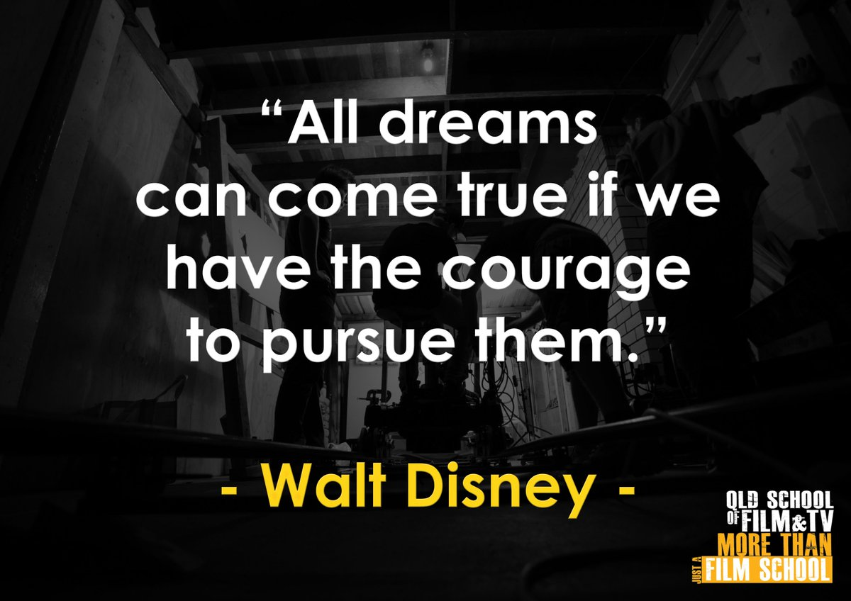 """. QUOTE OF THE DAY: """"All dreams can come true if we have the courage to pursue them."""" - Walt Disney . . . #qsft #filmschool #qldfilmschool #filmmaker #studybrisbane #scholarship #diploma #certificate3 #studymedia #studyfilm #quoteofthedaypic.twitter.com/IuNGBnxIy4"""