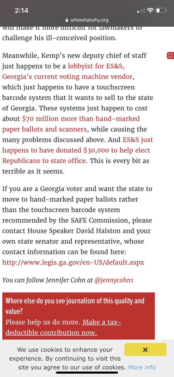 Another source about Georgia. https://whowhatwhy.org/2019/01/11/georgia-poised-to-pick-vulnerable-barcode-voting-technology/… 5/
