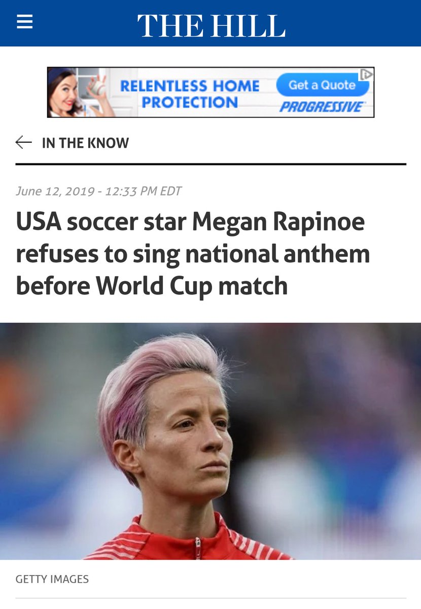 Via http://thehill.com: U.S. soccer star Megan Rapinoe did not join her teammates in singing the national anthem before the team's opening match against Thailand in the Women's World Cup on Tuesday... https://instagram.com/p/BynqFMYn8LO/