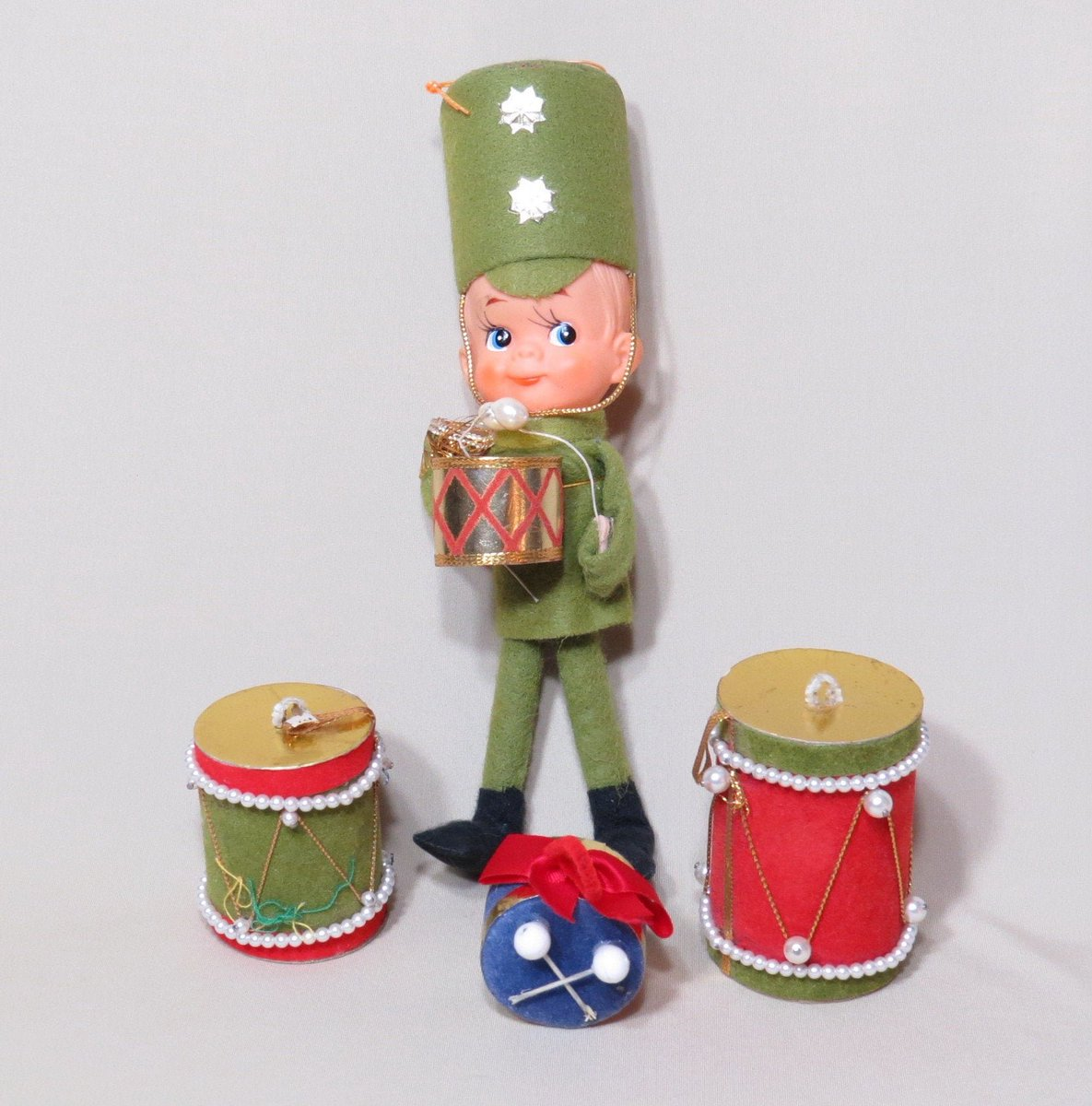 Christmas Drum Decor.Vintage Felt Drummer And Drums Christmas Ornaments 1950s
