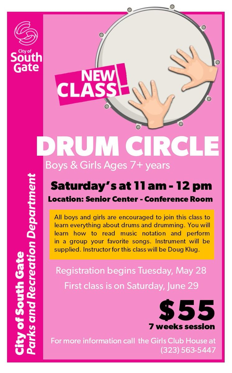 City Of South Gate >> New Drum Circle Class At South Gate Park First Class Is On
