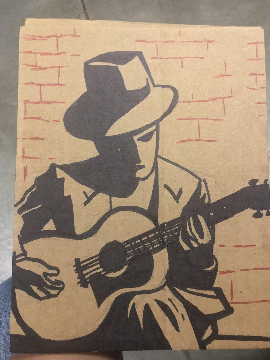 the blues man  ... #blues #thebluesman #cardboard #sharpie #sketch #compositionbookchronicles #conquesopublishing #cqcomics #comics #art #bored #sharpieart