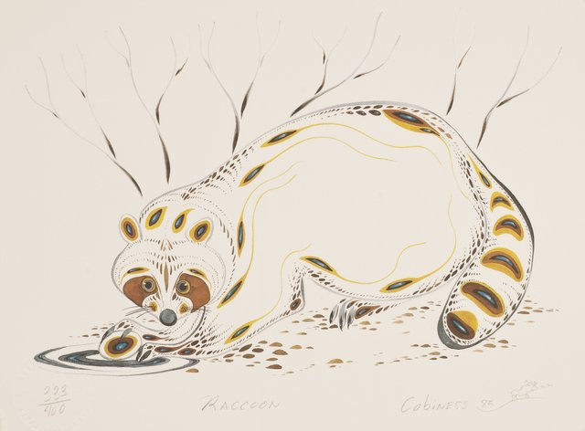 In honor of the anniversary of #mprraccoon happening a year ago, here's some raccoon art from our collections. This print was created by Ojibwe artist Eddy Cobiness in 1985. <br>http://pic.twitter.com/CWZ7GQo6qW