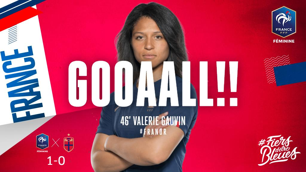 Yaassss!!! @GauvinValerie turns in @AmelMajri7's fine cross to make it 1-0 to France!   #FiersdetreBleues  #FIFAWWC  #FRANOR <br>http://pic.twitter.com/XGZA86Peru