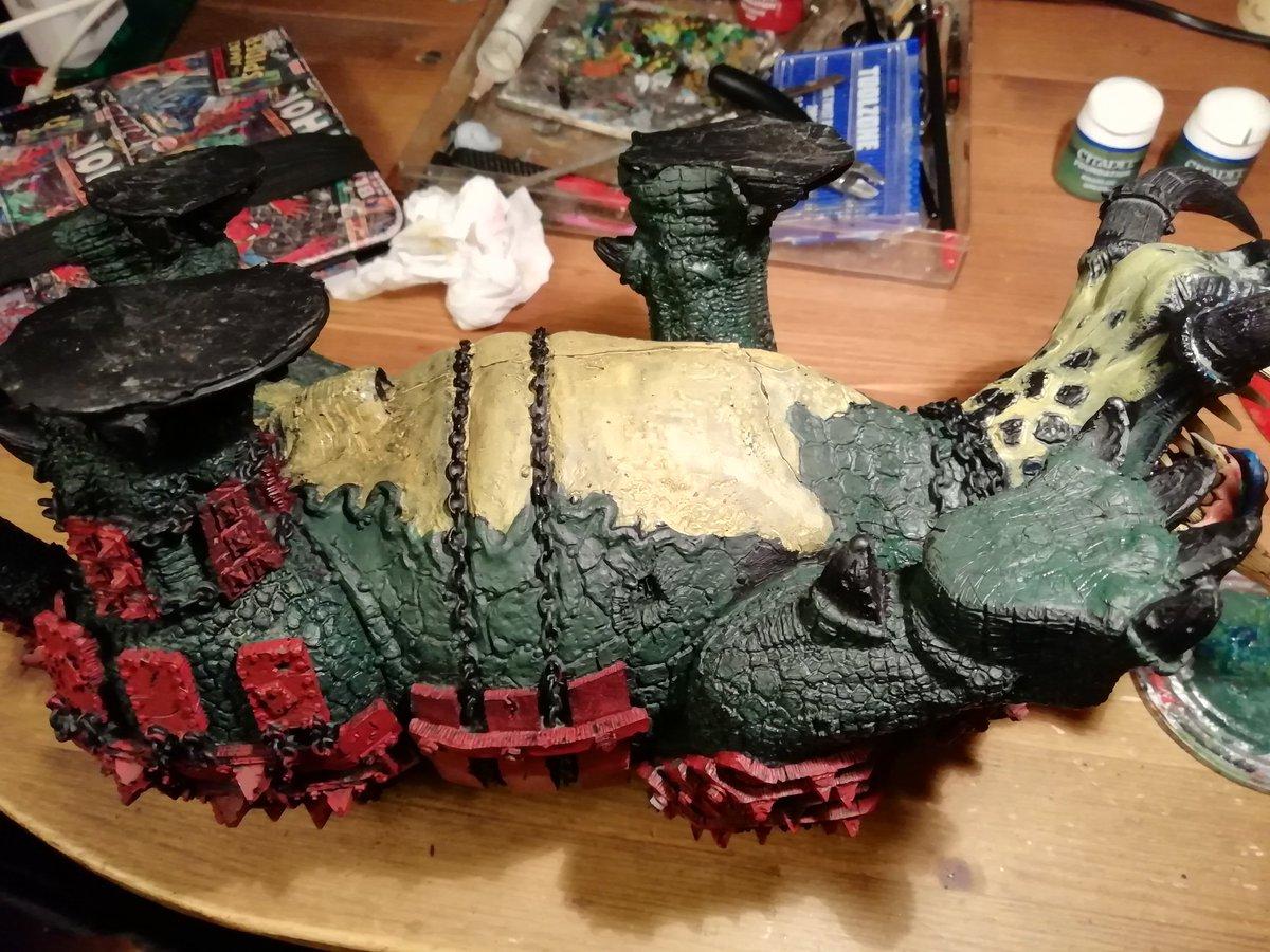 Base-coating a Gargantuan Squiggoth's wang.  As you do.  #WIPWednesday #warmongers #warhammer40k #ork