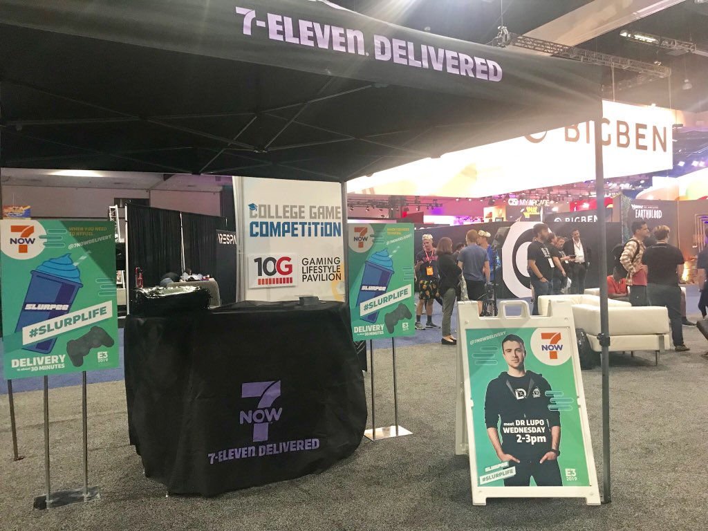 UPDATE!! We moved indoors because... warm. Come see me at the 10g Gaming Pavilion in the West Hall at #e3   You better be there! #slurplife @7NowDelivery #ad<br>http://pic.twitter.com/O8kYhcAsZw