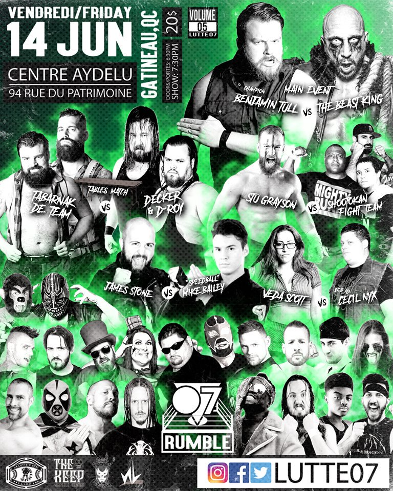 This Friday June 14th @lutte07 is back at the centre Aydelu in aylmer 94 rue du patrimoine.   And I'm in a 3 Vs 1 handicap scramble match. This is going to be fun. #darkorder #bornandbredforcombat