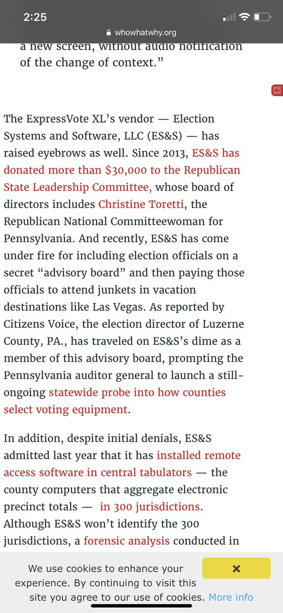 ES&S has also donated $30K to the Republican State Leadership Committee—which houses the Republican Secretary of State's Association—since 2013. https://whowhatwhy.org/2019/02/12/philly-ignores-cybersecurity-and-disability-access-in-voting-system-selection/… 8/