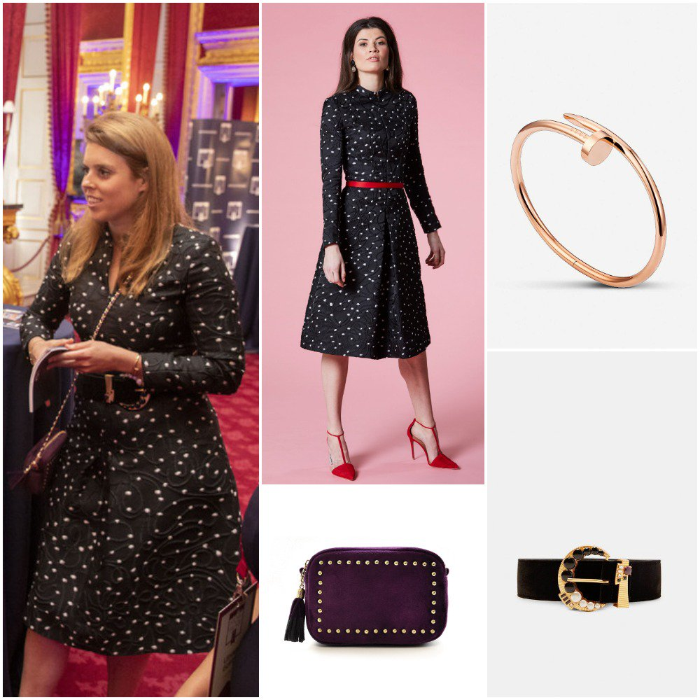 bf3b9dbd27a2 ... Beatrice attended Pitch@Palace this evening wearing a Claire Mischevani  Black Spot coat dress with Sophie Stanbury x Sienna Jones crossbody bag, ...