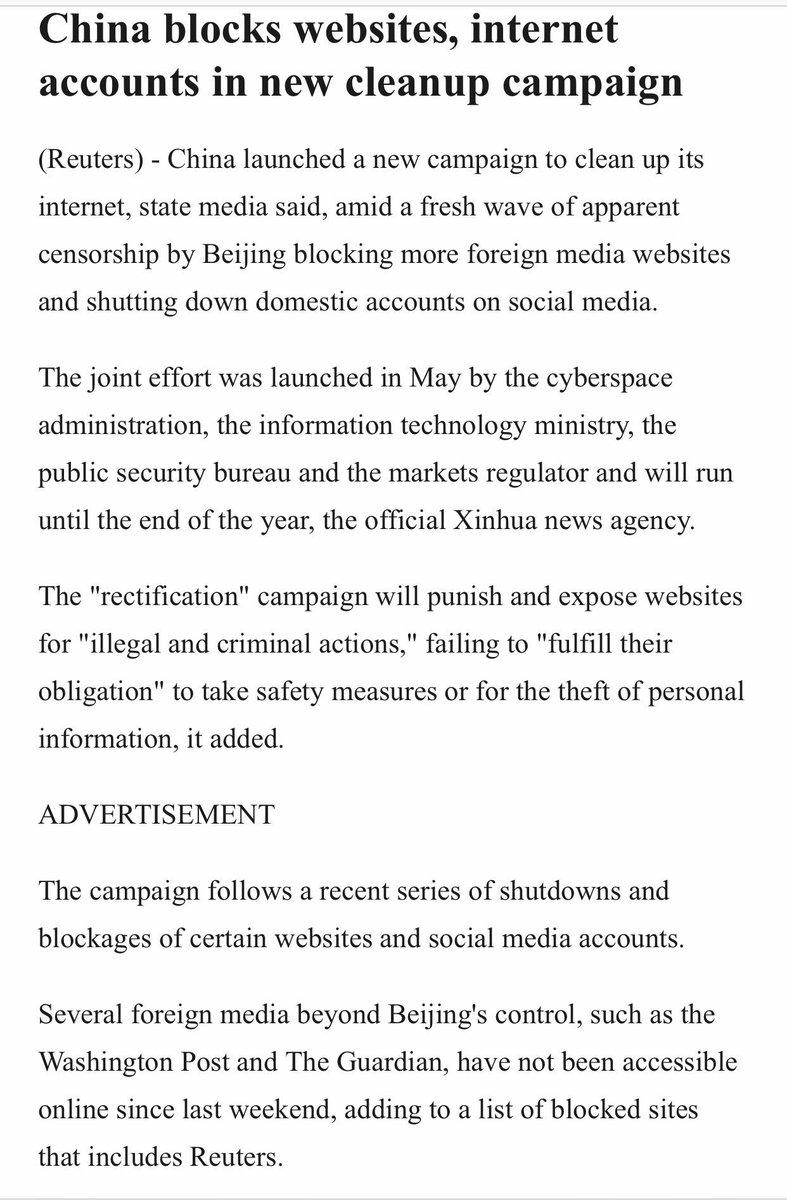 路透社对我的采访,问我知不知道什么原因被中国网络封杀的,我说不知道,大概是以后不允许有影响力的自媒体存在,不管是什么内容的、和政治有没有关系。互联网寒冬将至。