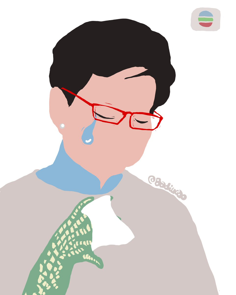 """#Badiucao Cartoon 【Crocodile Tears】 #巴丢草 漫画 【鳄鱼的眼泪】 Carrie Lam cried on TV yesterday for her own """"sacrifice"""" as young people in HK were beaten and shot by police. Hypocritical! #NoChinaExtradition  林郑昨日在电视留下鳄鱼眼泪,无能,亦虚伪,何不落台?! #反送中"""