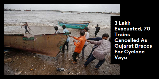 Lead story now on http://ndtv.com: The Western Railways cancelled 70 trains and curtailed the journeys of 28 others as Cyclone Vayu inched closer to the Gujarat coastline, growing stronger along the way https://www.ndtv.com/india-news/3-lakh-evacuated-70-trains-cancelled-as-gujarat-braces-for-cyclone-vayu-10-points-2052372…#NDTVLeadStory #CycloneVayu