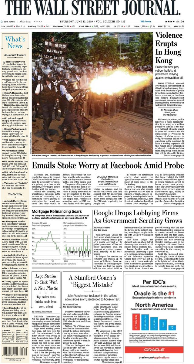 Facebook on front page of @WSJ today. Zuck told Congress first he knew about Cambridge Analytica was Guardian's story. But share price sank yesterday as reports of emails surface that tell another story...