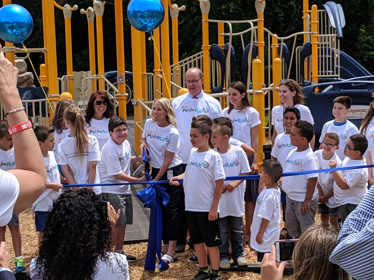 """APTANJ was honored to be at the @CRA_Bulldogs 🎀 cutting for their new adaptive playground in Freehold Twp. This PT/Community-led initiative recognizes """"All kids love to play and deserve the opportunity to do so, together."""" Kudos to @vingopal & @NJLD11 for their support as well."""