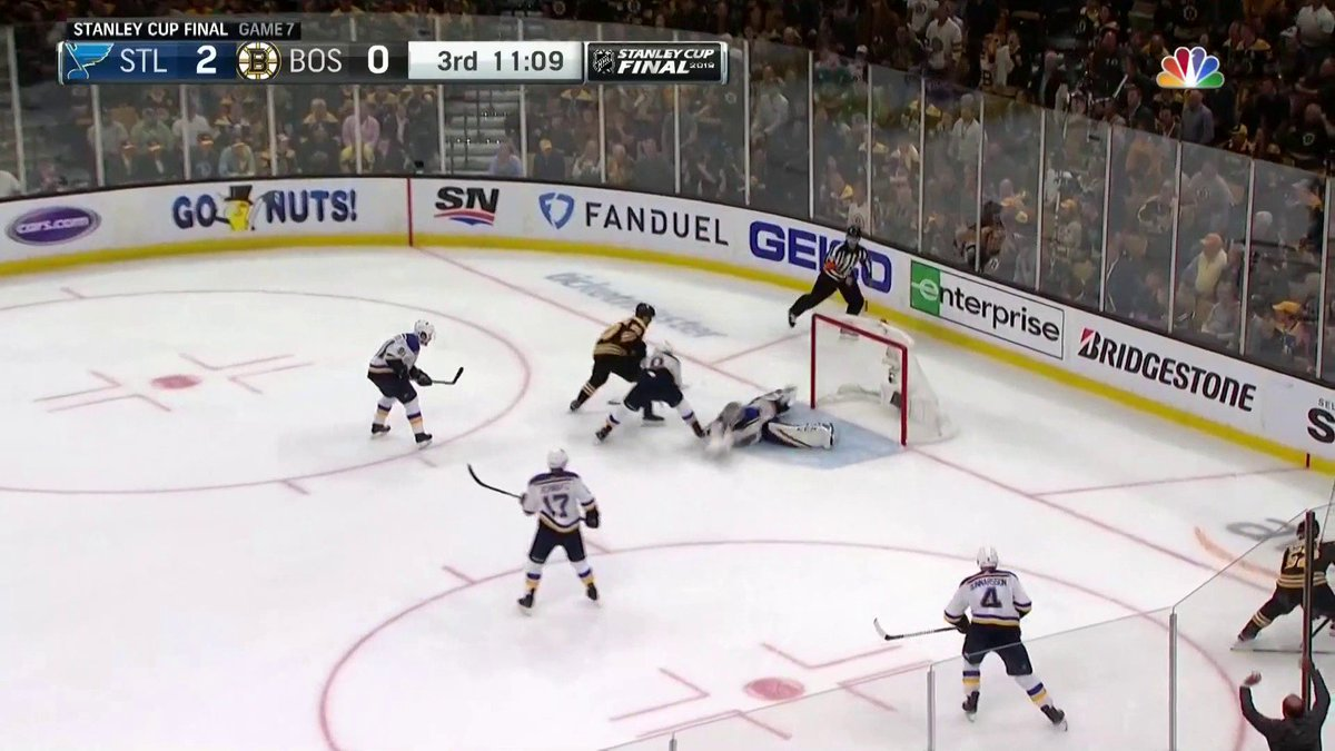 Jordan Binnington with the save of the game keeping the Bruins off the board