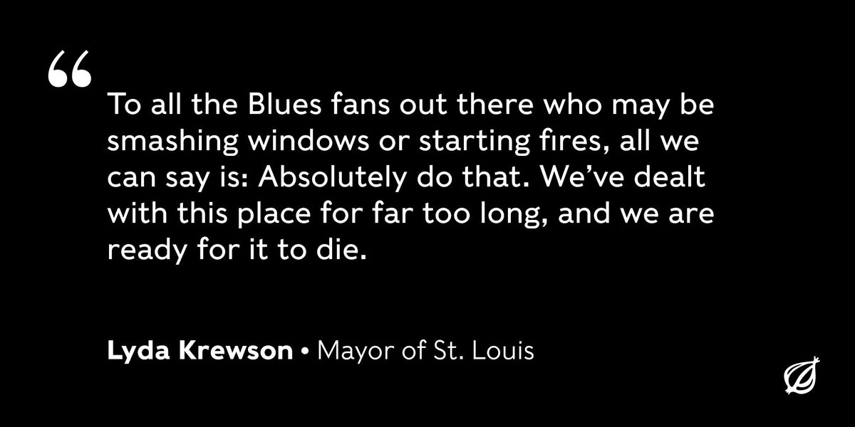St. Louis officials encouraged fans celebrating the @StLouisBlues Stanley Cup victory Wednesday to just burn the city down and finally end everyone's suffering. https://trib.al/OCU6qTn