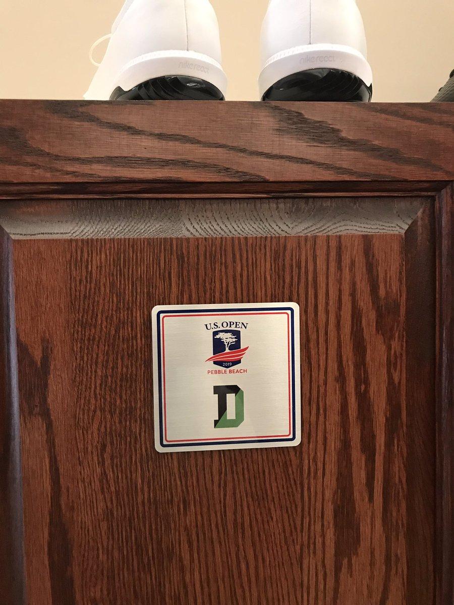 My locker at the @usopengolf this week! Love the @Deerfield name plate... #gobiggreen