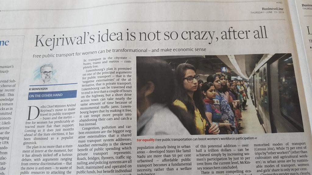 👇 Am surprised & puzzled that the Editor of a leading business daily endorses free public transport for women !