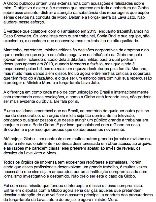 Sobre a declaração da Globo: