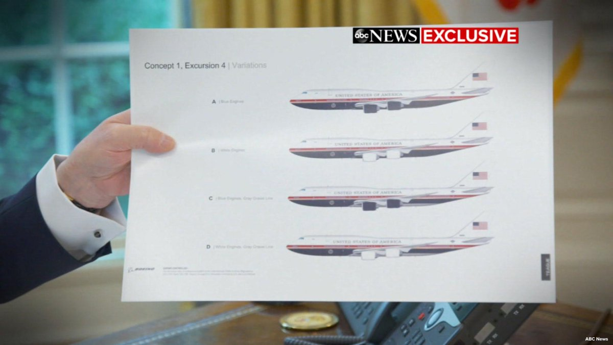 Trump shares mock-ups of a new Air Force One featuring colors remarkably similar to his private jet