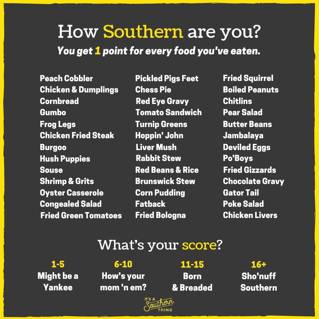"Ok friends - what's your score? Mine is 23, so I'm #sho'nuff southern,"" which makes sense since I lived in Tennessee & Mississippi for 9 years, West Virginia for 4 yrs and Florida for 26 yrs. Oh, and has anyone tried fried squirrel 🐿? I have not...but would..maybe. 😂"