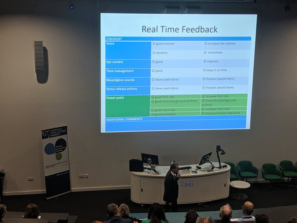 Matteo Borini has developed a real time presentation feedback sheet. This helped build confidence in students #LJMUTLC19