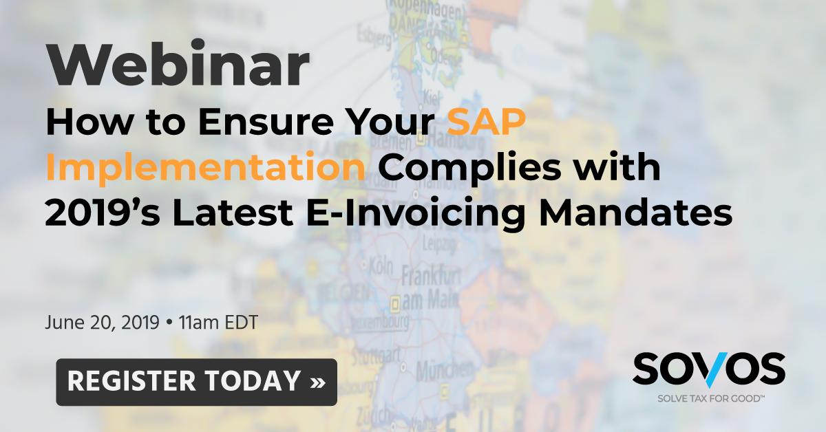Register for this upcoming webinar, presented by Sovos' @SpragueSteve to learn how the latest e-invoicing mandates in Latin America and Europe will affect your business and how you can prepare your SAP implementation. Register at: http://bit.ly/2WESKz7  #eInvoicing #SAPS4HANA